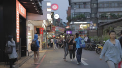 Shida night market lifestyle - many students Stock Footage