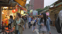Busy part of shida night market - many students Stock Footage