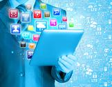 Stock Illustration of Business man use tablet pc with colorful application icons