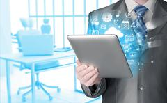 Business man using tablet PC Stock Illustration