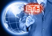 Stock Illustration of businessman is pushing his finger on lte button