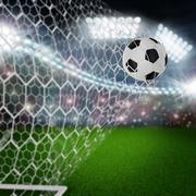 soccer ball in goal net - stock illustration