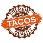 Tacos grungy stamp isolated on white background Stock Illustration
