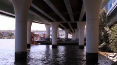 Highway Pillars Extending from Water Stock Footage