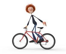 The 3d student by bicycle. Stock Illustration