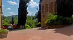 POV. Italy, Tuscany, walking on territory of agriturismo hotel, farmstead. Stock Footage