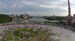 Aerial video near Putra Mosque at putrajaya Stock Footage