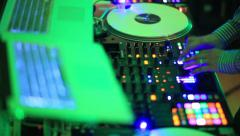DJ Spinning, Mixing and Scratching in the Club Stock Footage