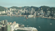 Stock Video Footage of hong kong victoria harbor city skyline