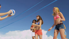 Stock Video Footage of Carefree Young People Vacation Beach Volleyball