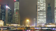 Stock Video Footage of shanghai skyscraper and city traffic at night