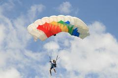 Stock Photo of Skydiver Parachute Open, Sky, Adrenaline