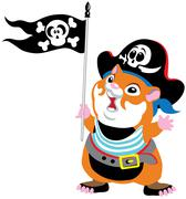 Cartoon hamster pirate Stock Illustration