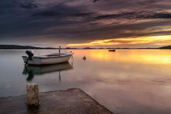 dalmatia sunset in bay - stock photo
