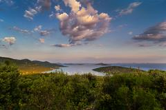 dalmatia sunset in bay - stock photo