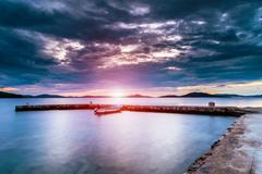 Dalmatia sunset in bay Stock Photos