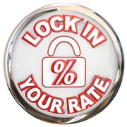 Lock in your rate button percent interest loan mortage Stock Illustration