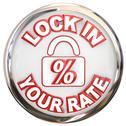 Stock Illustration of lock in your rate button percent interest loan mortage