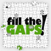 Fill the gaps puzzle hole shortfall coverage insufficient lacking Stock Illustration