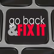 go back and fix it words computer keyboard key button - stock illustration