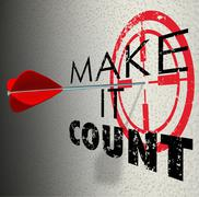 Make it count arrow target words succeed win important result Stock Illustration