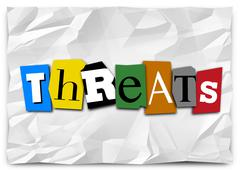 threats word cut out letters ransom note risk danger warning - stock illustration