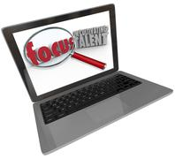 Focus on cultivating talent words computer laptop screen Stock Illustration