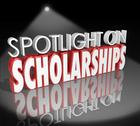 Stock Illustration of spotlight on scholarships words tuition payment college degree