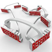 Referrals 3d words connected arrows new customers word of mouth Stock Illustration