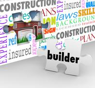 Builder puzzle piece wall new home building construction words Stock Illustration