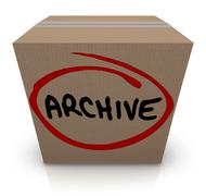 archive cardboard box record file storage packed up put away - stock illustration
