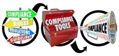 Compliance three step diagram following rules guidelines Stock Illustration