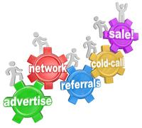 Stock Illustration of selling sales steps advertise network cold call referrals