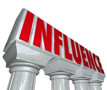 Stock Illustration of influence word stone marble pillars columns power reputation dominance