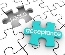 Acceptance puzzle piece complete inner peace admit fault shortcoming Stock Illustration