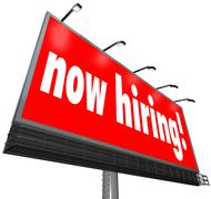 now hiring words billboard sign jobs career apply business - stock illustration