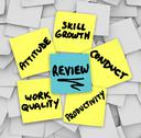 Stock Illustration of performance review sticky notes attitude conduct work quality productivity