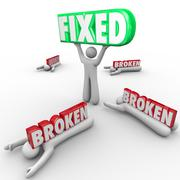 Fixed vs broken one person repair solves problem others fail Stock Illustration
