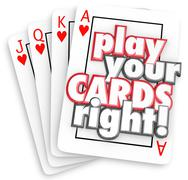 Play your cards right playing game strategy win competition Stock Illustration