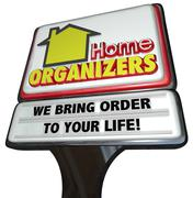 Home organizers store sign service house cleaning order Stock Illustration