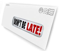 Don't be late overdue bill warning fee penalty envelope Stock Illustration