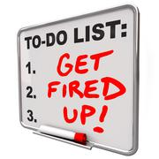 Get fired up excited ready succeed words to do list board Stock Illustration