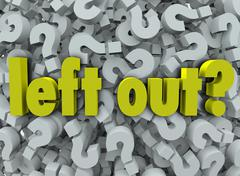 left out words 3d question marks lonely behind outsider - stock illustration