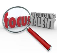Focus on cultivating talent words magnifying glass finding employees Stock Illustration