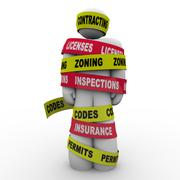 contracting licenses zoning inspection codes builder wrapped tied up tape - stock illustration