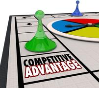 Competitive advantage board game piece moving forward winner Stock Illustration