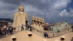 Tourists on the roof of Casa Mila (La Pedrera). Stock Footage