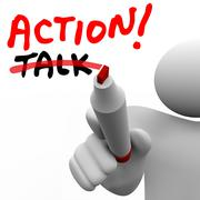 Action vs talk man writing words crossing out best strategy active Stock Illustration