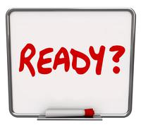 ready word dry erase board prepared question readiness preparation - stock illustration