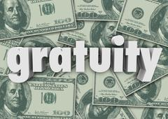 Stock Illustration of gratuity word money cash background paying bill extra tips thank you
